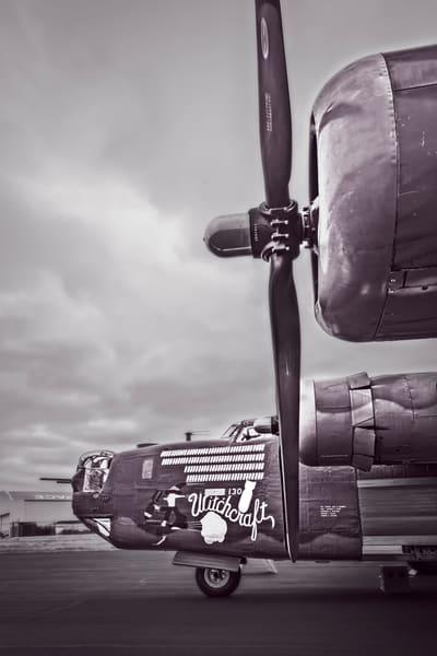 B-24 WW2 Witchcraft Warplane warbird Monochrome fleblanc