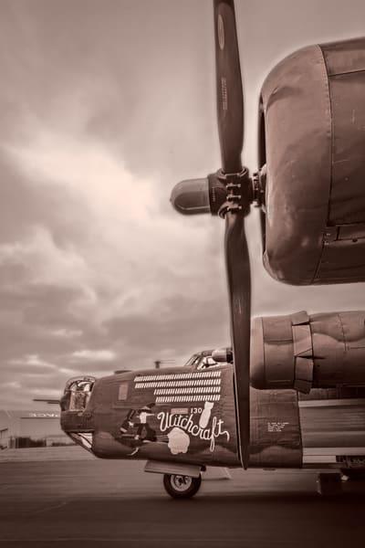 B-24 WW2 Witchcraft Warplane classic Monochrome fleblanc