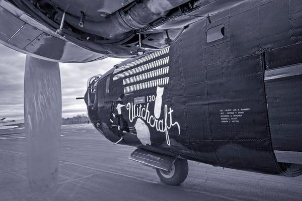 B-24 WW2 Liberator Witchcraft Vintage Monochrome fleblanc