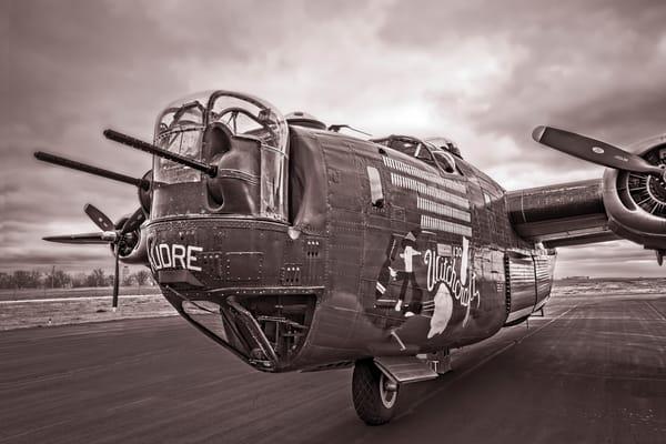 B-24 WW2 Witchcraft Aircraft veteran Monochrome fleblanc