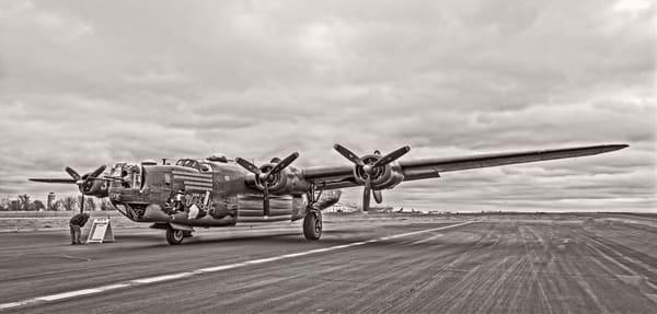 B-24 WW2 Witchcraft Aircraft Historic Monochrome fleblanc