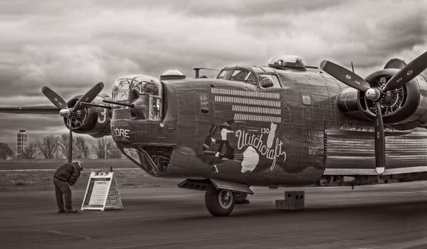 B-24 WW2 Witchcraft Aircraft Antique Monochrome fleblanc