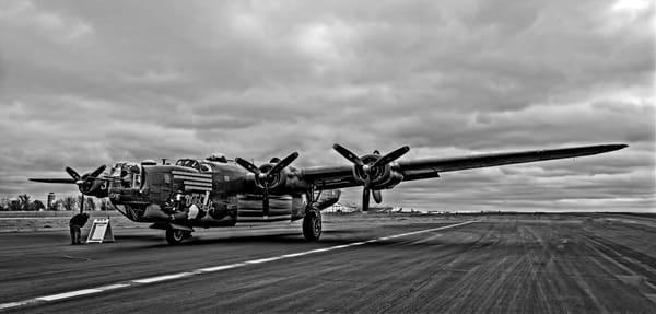 B-24 WW2 War Witchcraft Aircraft USAF Monochrome fleblanc