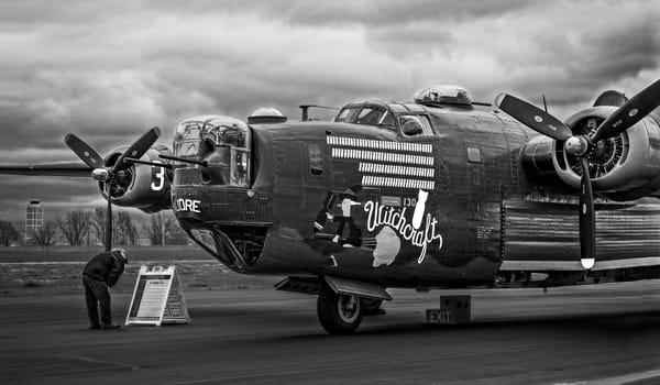 B-24 WW2 Witchcraft Aircraft Allied Monochrome fleblanc