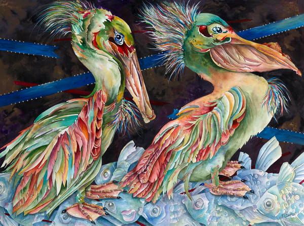 Whimsical and Fun, Gayle Faulkner's mixed media painting of Pelicans as they stroll through the fish.