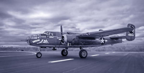 B-25 Mitchell Allied Warplane Antique Monochrome fleblanc