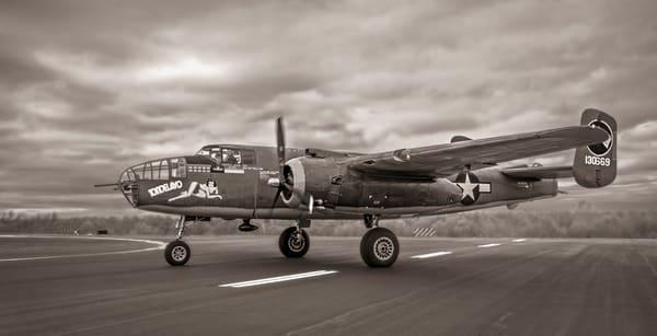 B-25 Mitchell WW2 Allied Warplane Antique Sepia Restored fleblanc