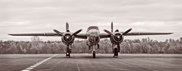 B-25 Mitchell Allied Warplane Antique Warm Tone fleblanc