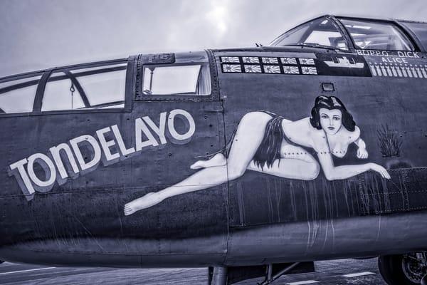 B-25 Mitchell WW2 Warplane Tondelayo Monochrome fleblanc