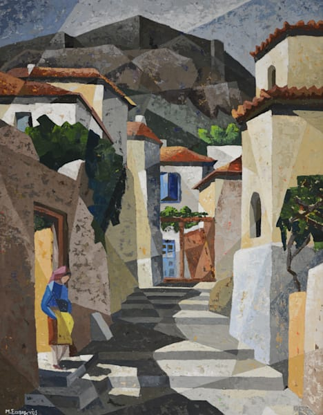 SOLD - Cubist Greek Village