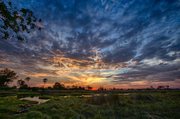 Sunset in the Okavango Delta, Botswana.