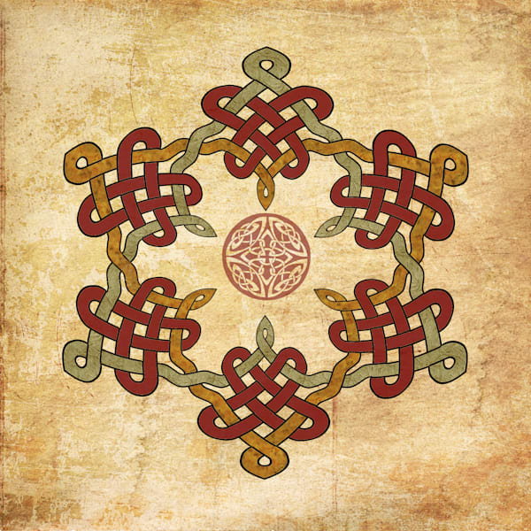 Gold Burgundy Celtic Circle Art painting for sale | Grimalkin Studio