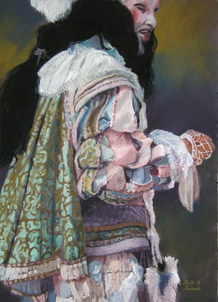 Purchase prints from an original pastel painting by Loreta Feeback, showing a man dressed in the costume of the Renaissance era