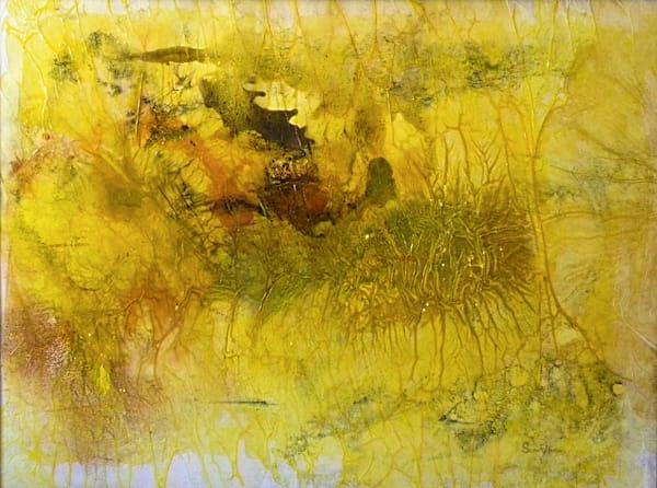 "Earth Art - ""Aureolin Aura"" abstract landscape painting by Sarah Hanson"
