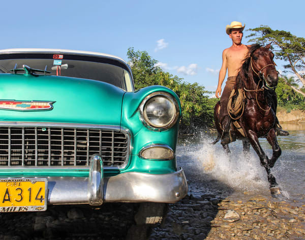 Shop Classic Cars & Horses In Cuba Photograph for sale as art.