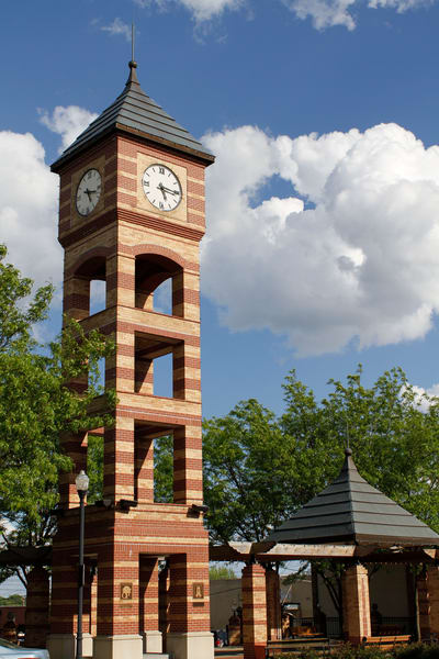 Purchase this photograph of the iconic clocktower in Overland Park, KS.