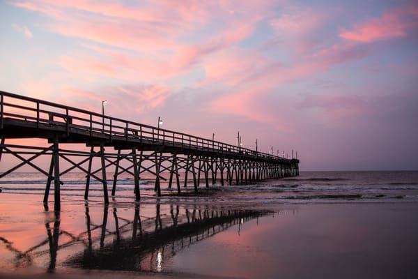 Purchase this photograph Pier at Sunrise with Reflections.