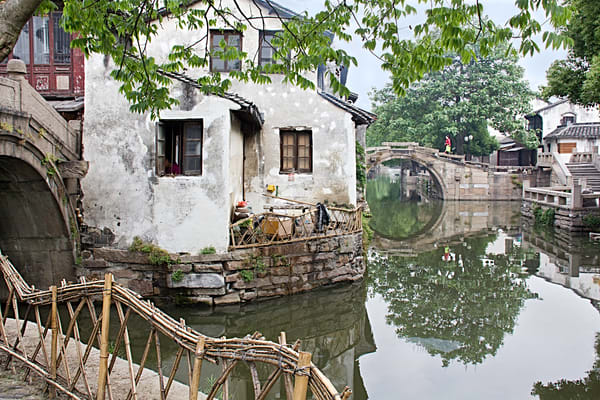 Purchase a print of the beautiful, serene water town of Zhouzhuang, China.