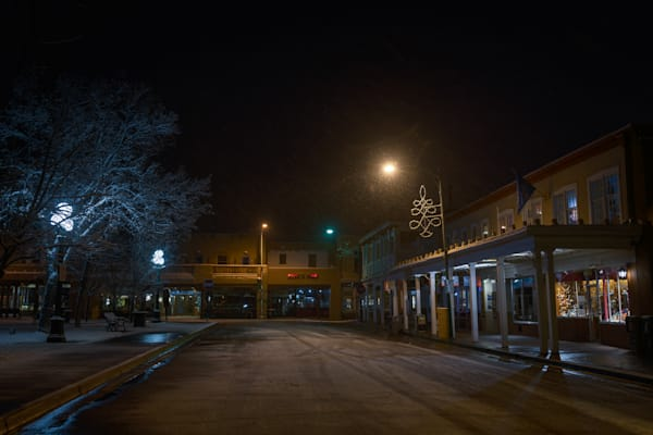 Photography, Santa Fe, Southwest, winter, Plaza, New Mexico, nightscape