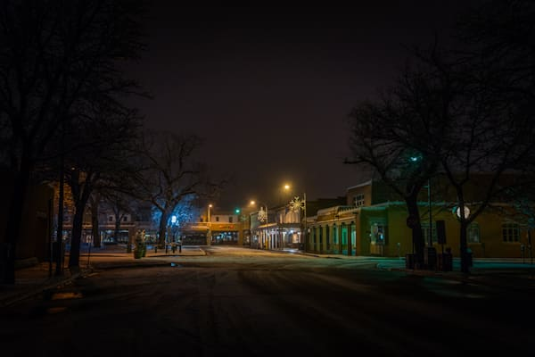 Photography, Santa Fe, Southwest, winter, Plaza, Nightscape, Nocturne, New Mexico,