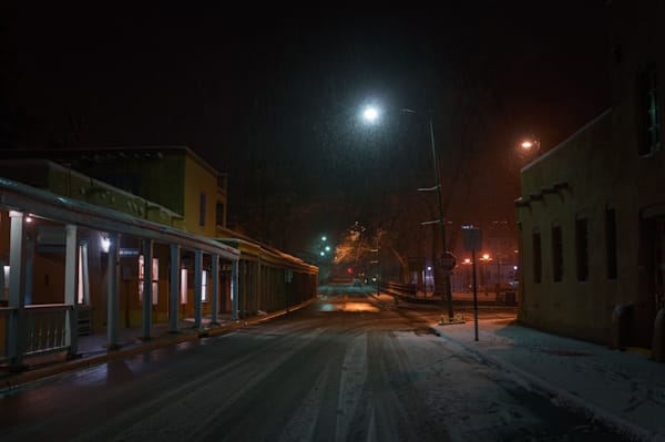 Photography, Santa Fe, Southwest, winter, Nightscape, Nocturne, Palace Avenue, New Mexico
