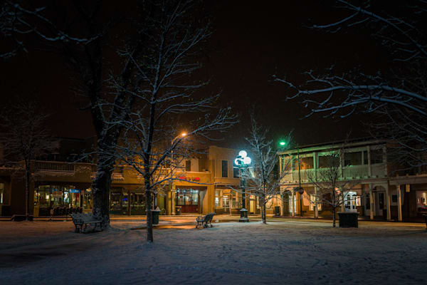 Photography, Santa Fe, Southwest, winter, New Mexico, nightscape, nocturne, Plaza, Santa Fe Plaza