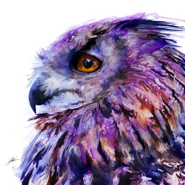 Purple Eurasian owl painting by Sally Barlow