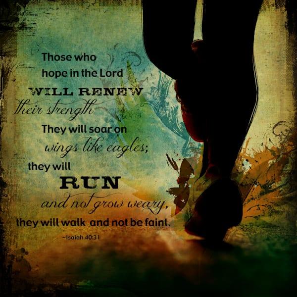 Run (Isaiah 40:31) {Square} Art   Sally Barlow, Makaio Design
