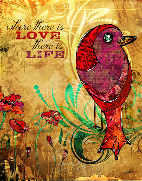 Inspirational bird and poppies art illustration by Sally Barlow