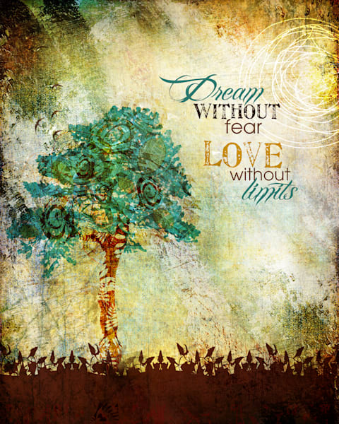 Dream without fear inspirational tree art by Sally Barlow