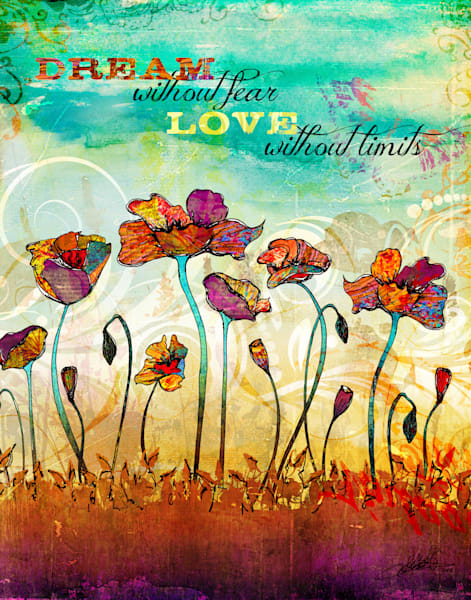 Colorful Poppies art illustration by Sally Barlow