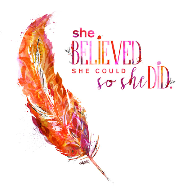 She Believed She could feather art by Sally Barlow