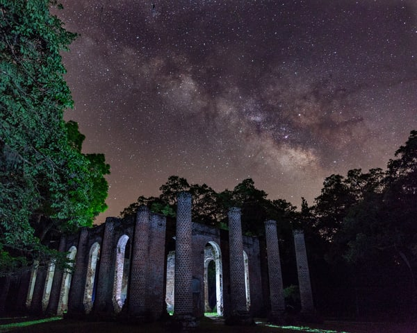Old Sheldon Church Ruins at Night