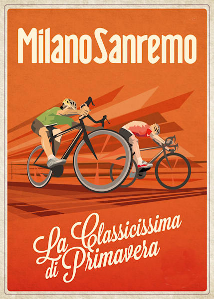 Retro commemorative Milan San Remo cycling art by Sassan Filsoof, cycling art, bike race, La Primavera, vintage cycling, retro cycling, bike art, bike race poster