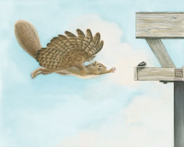 """When Squirrels Dream"" humorous illustration by fantasy artist Melissa A Benson"