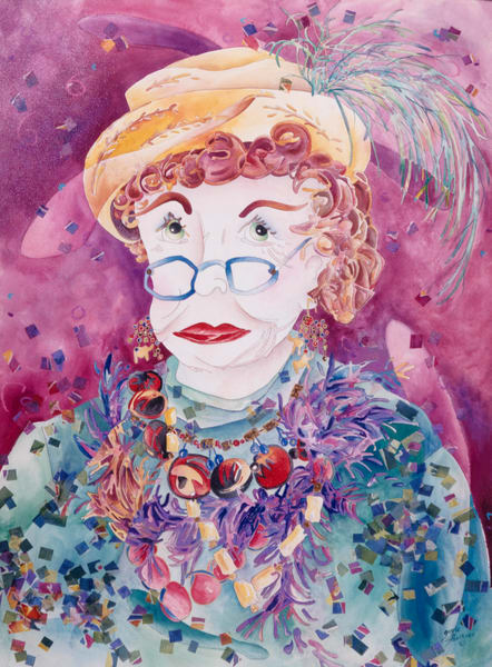 Purchase a copy of Gayle Faulkner's mixed media painting, She Wears Purple.
