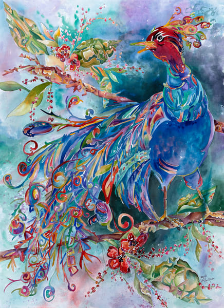 Gayle Faulkner's peacock painting, Winged Jewels can be purchased today.