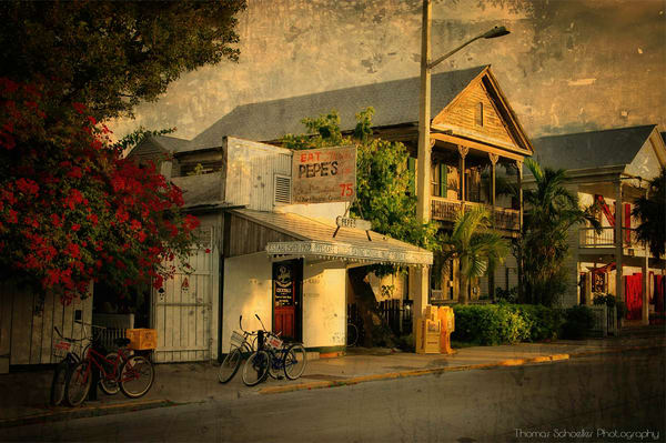 Pepe's Cafe Key West Florida fine art prints/Vintage Americana Caroline Street prints by Thomas Schoeller