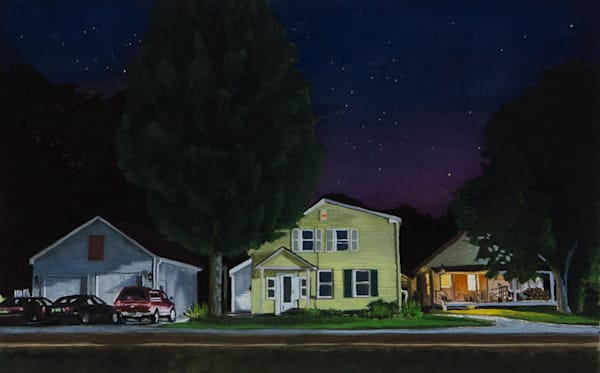 vermont, nocturne, nightscape, pittsfield, gouache, newengland