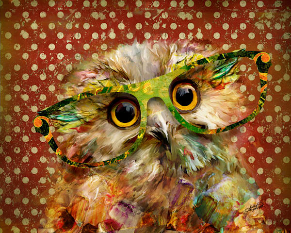 Quirky owl painting with glasses by Sally Barlow