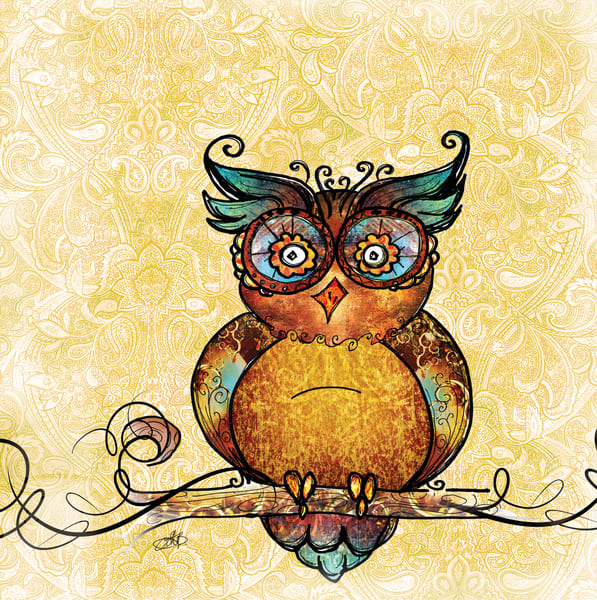 Whimsical adorable owl art illustration by Sally Barlow