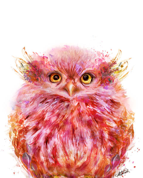 Coral pink fluffy baby owl art print by Sally Barlow