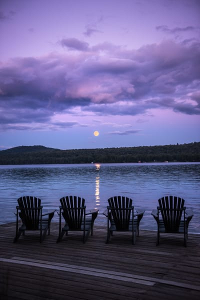 Adirondack Chairs Full Moon over 1st Lake
