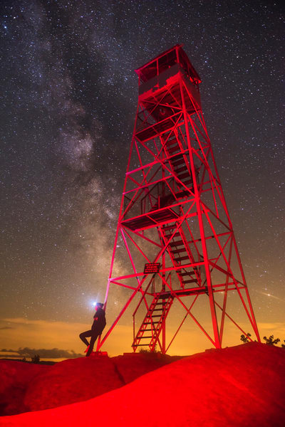 Bald MT Fire Tower Light Painting with milky way.
