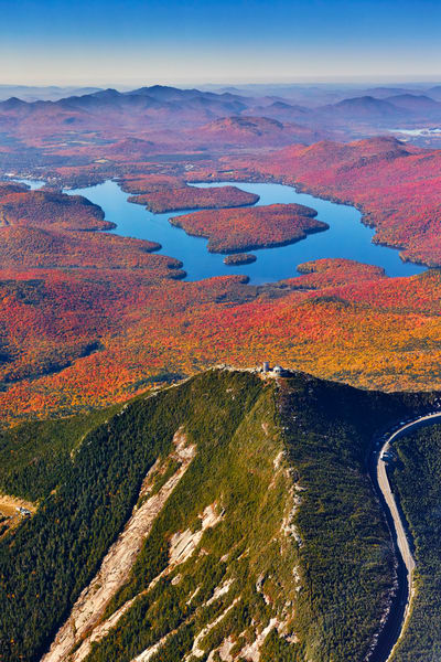 Whiteface Mt and Lake Placid Fall Aerial
