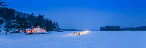 Frozen Raquette Lake Snowmobiles