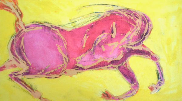 Pink Horse, Yellow Sky Art | Pam White Art