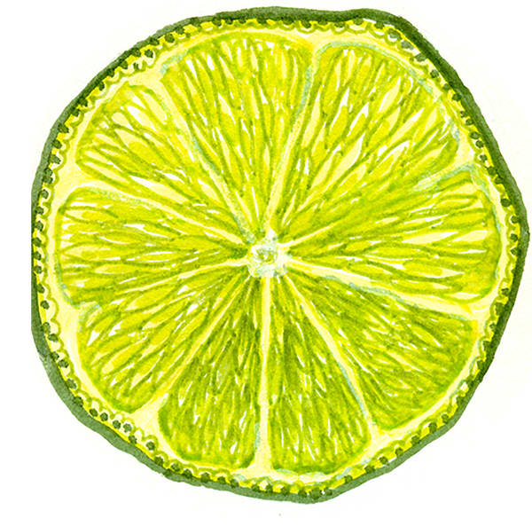 Watercolor painting bright green lime mandala