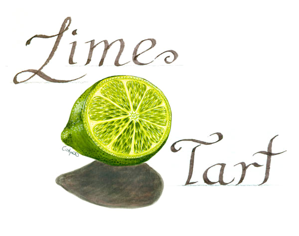 Handlettered watercolor lime