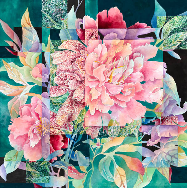 Gayle Faulkner's mixed media painting Fractured Flowers is an unusual addition to your art collection.